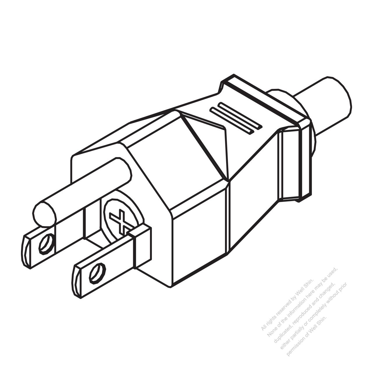 Taiwan Japan 3 Pin Straight Ac Plug 7 15a 125v With Fuse