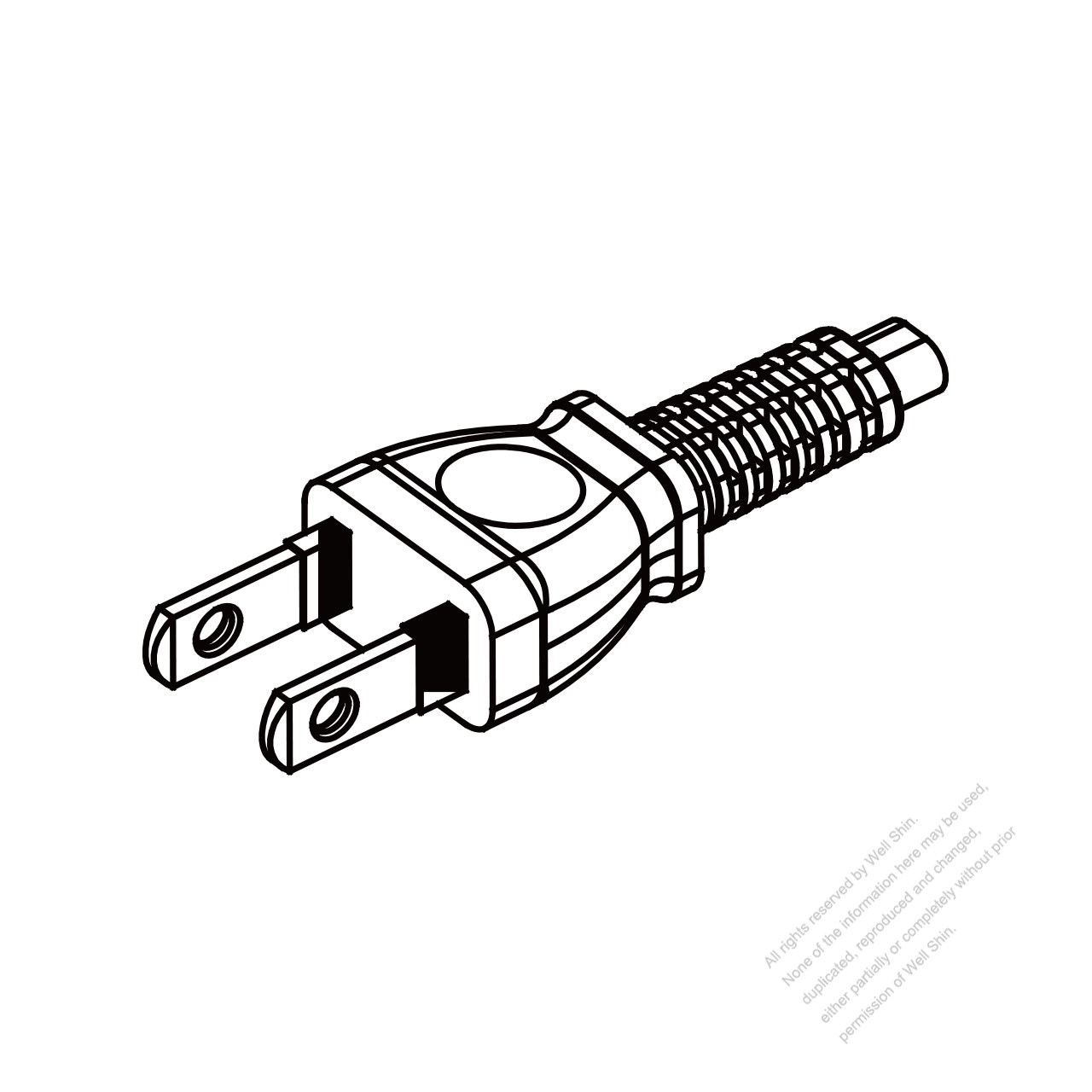 Japan 2 Pin Semi Insulation Plug Cable End Cut Ac Power