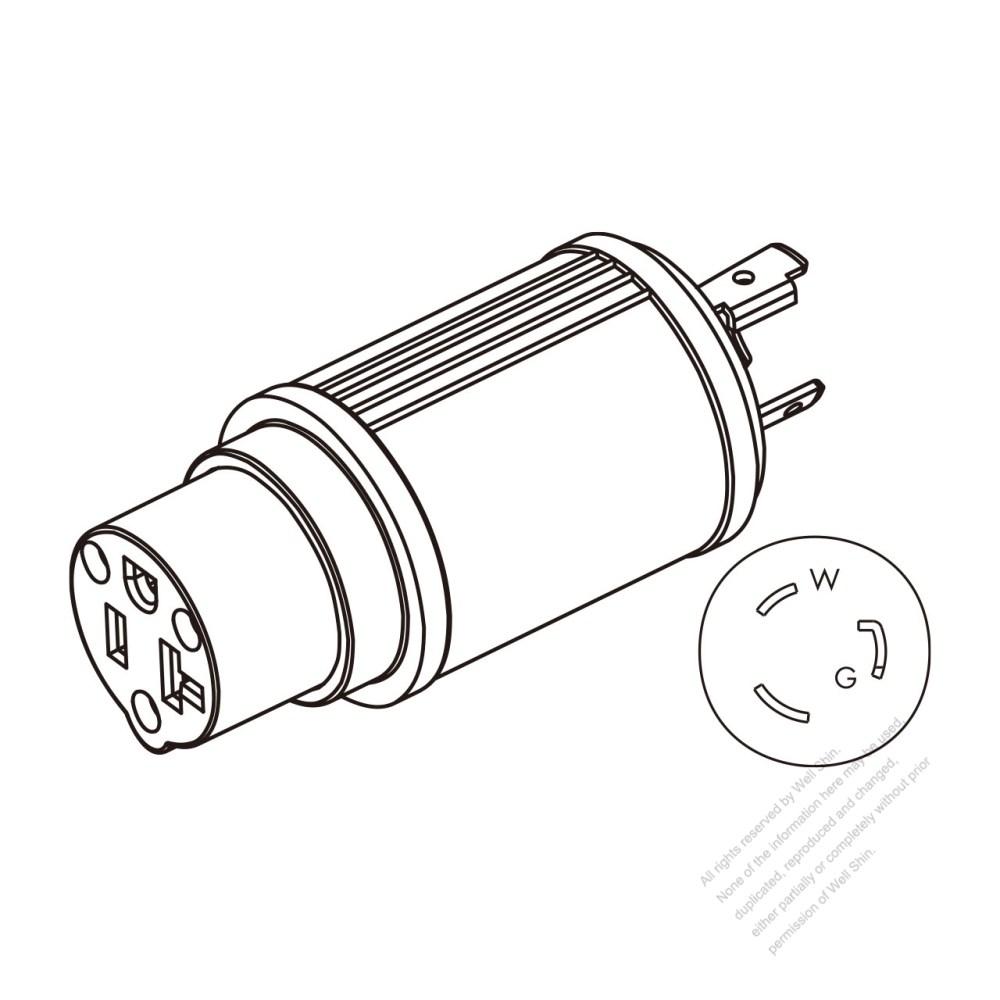 medium resolution of adapter plug nema l5 20p twist locking to 5 20r 2 p