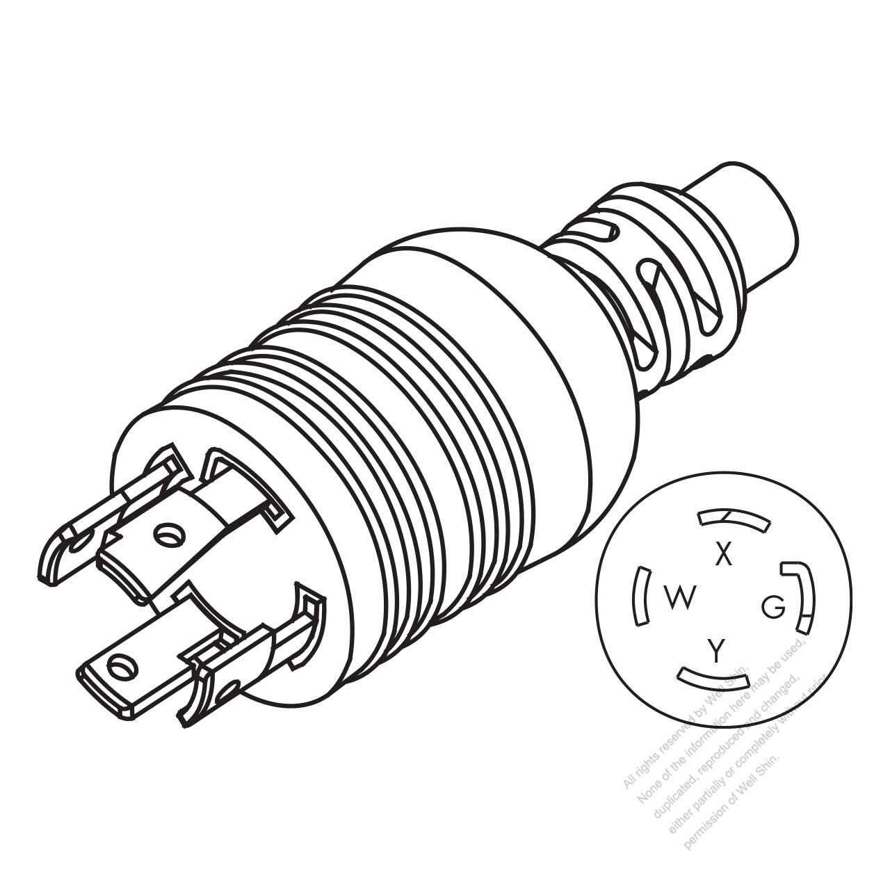 hight resolution of usa canada nema l14 30p twist locking ac plug 3 p 4