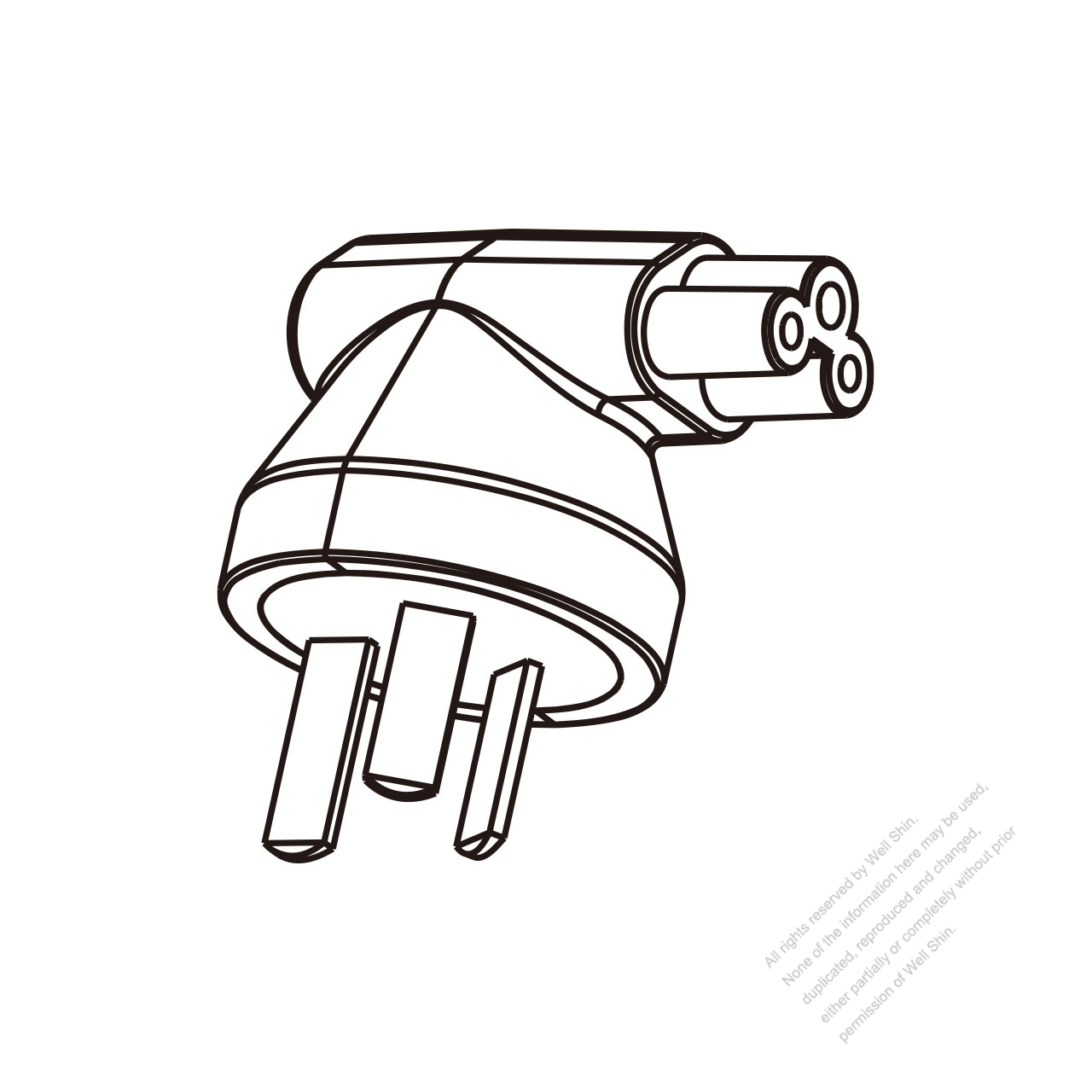 Adapter Plug China Angle Type To Iec 320 C5 Female Connector 3 To 3 Pin 2 5a 250v