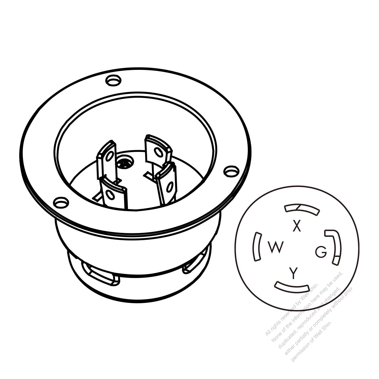 hight resolution of usa canada locking flanged inlet nema l14 30p 3 p 4 wire grounding