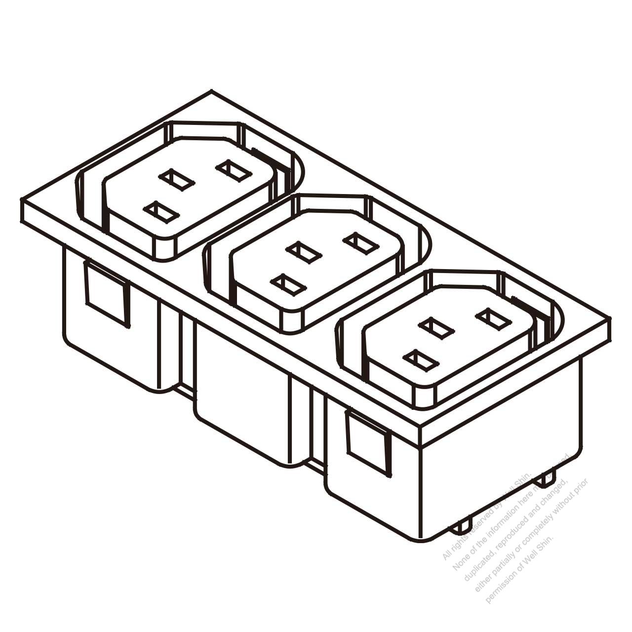 Ac Socket Iec 2 Sheet F Appliance Outlet X 3