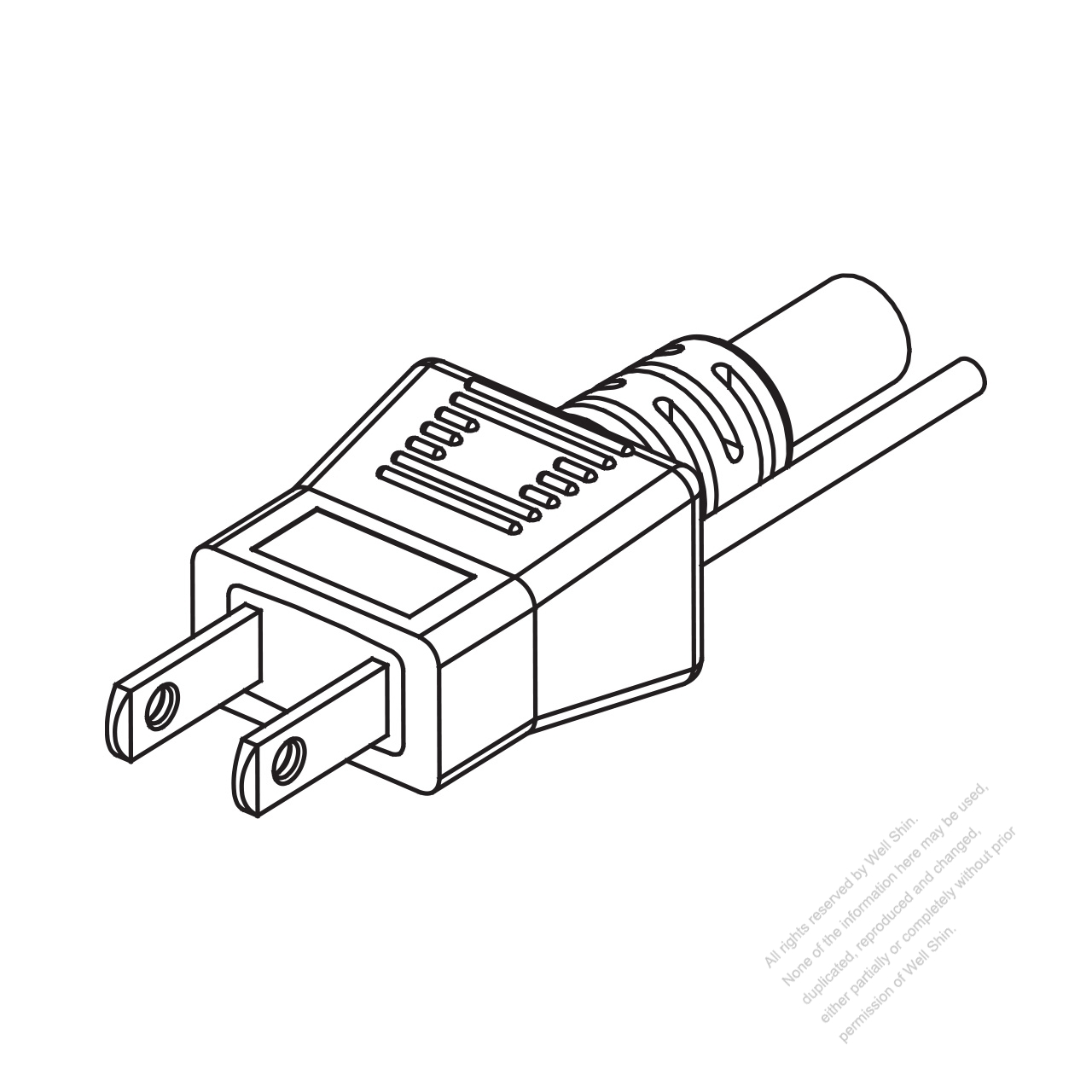 Taiwan Japan 2 Pin 2 Wire Straight Ac Plug 7 15a 125v