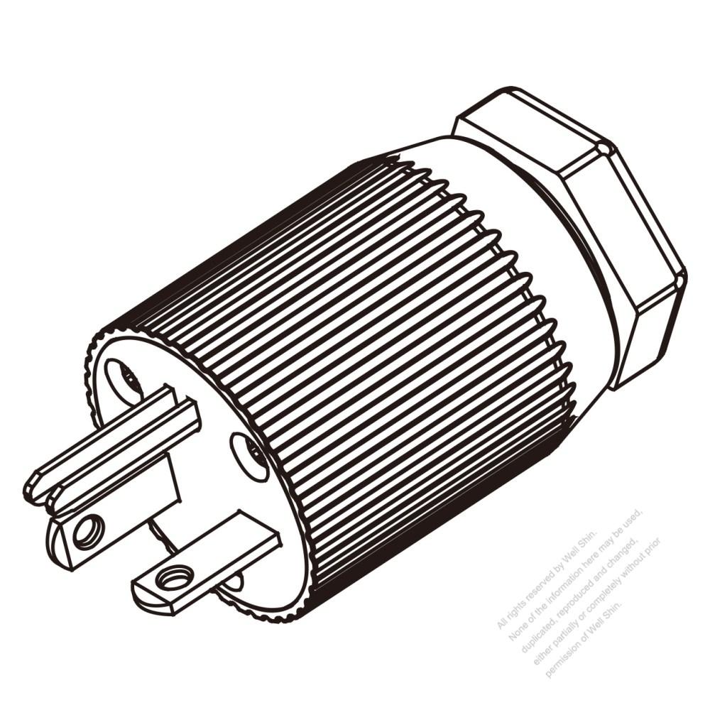 medium resolution of usa canada nema 6 20p 3 pin straight blade plug