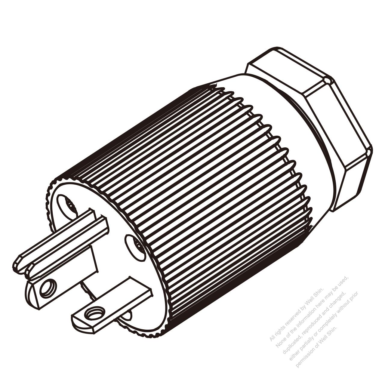 hight resolution of usa canada nema 6 20p 3 pin straight blade plug
