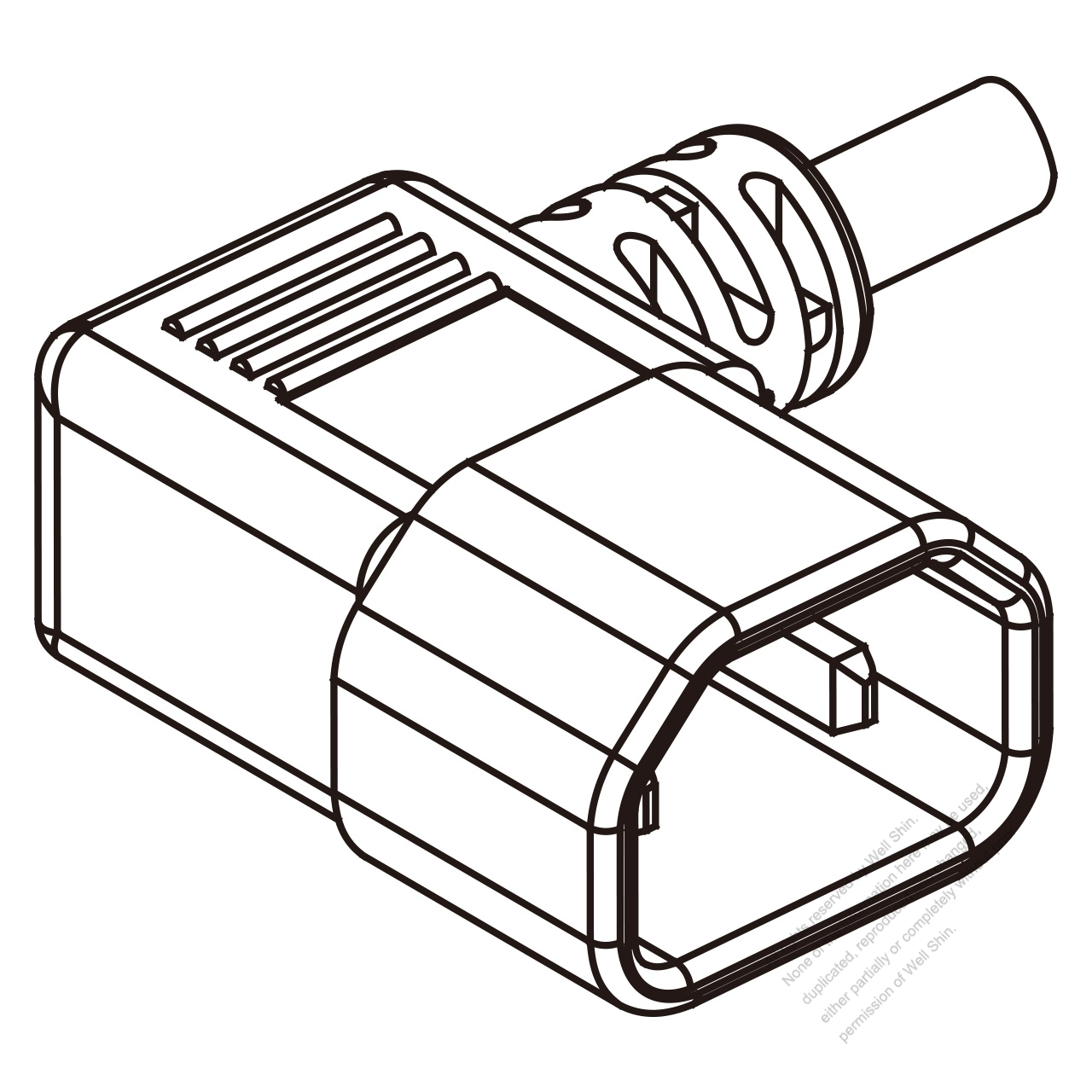 IEC 320 Sheet G Plug Connectors 3-Pin Angle 10A 250V