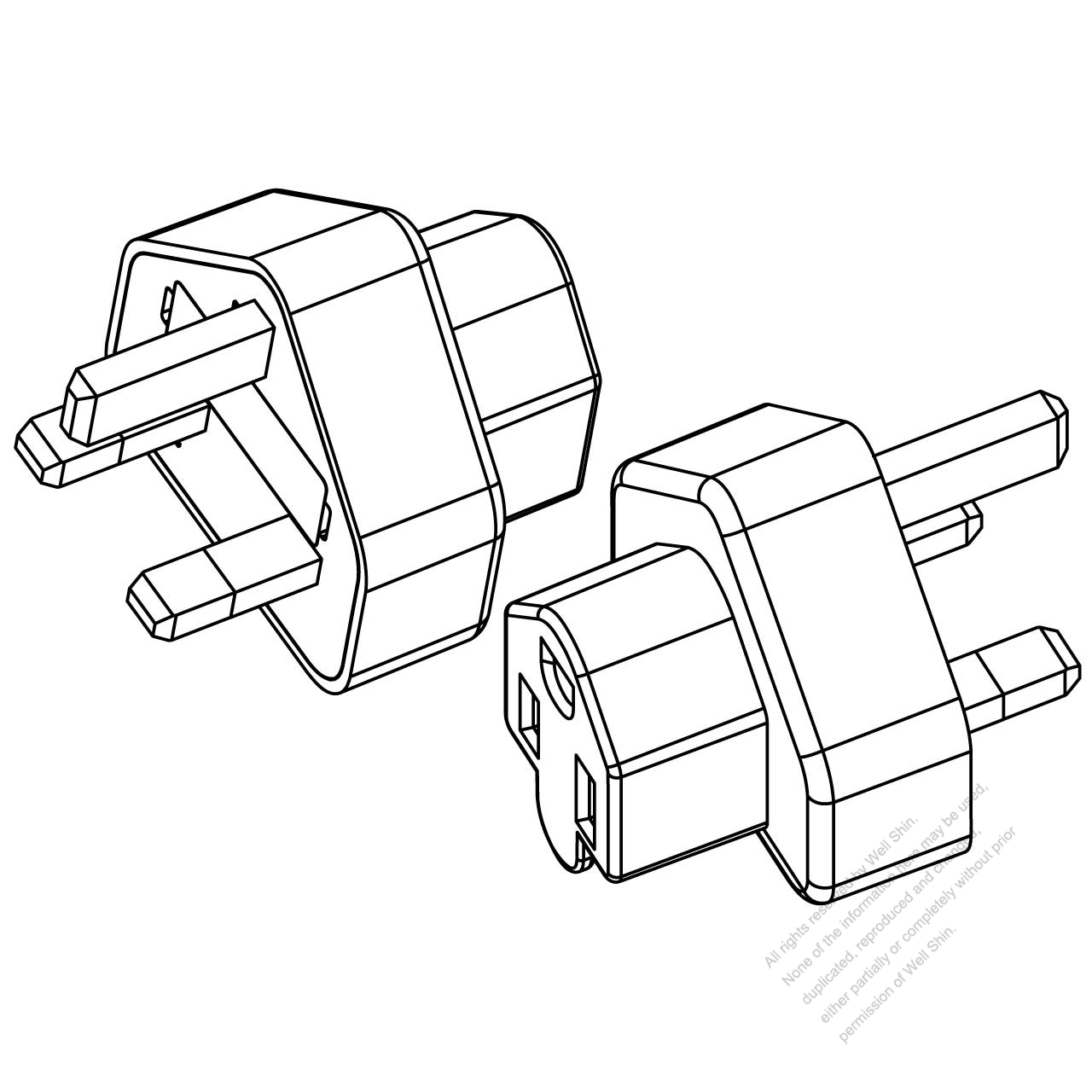 Adapter Uk Plug To Nema 5 15r Connector 3 To 3 Pin 10a