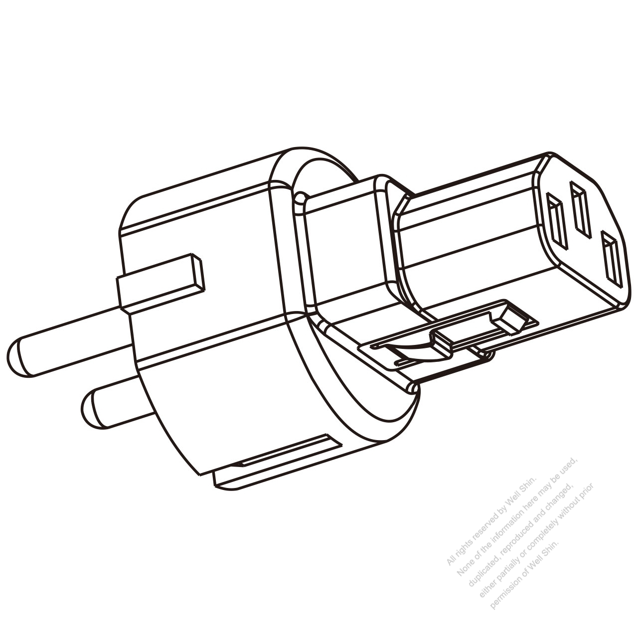 Adapter Plug, Israel Type to IEC 320 C13 Female Connector