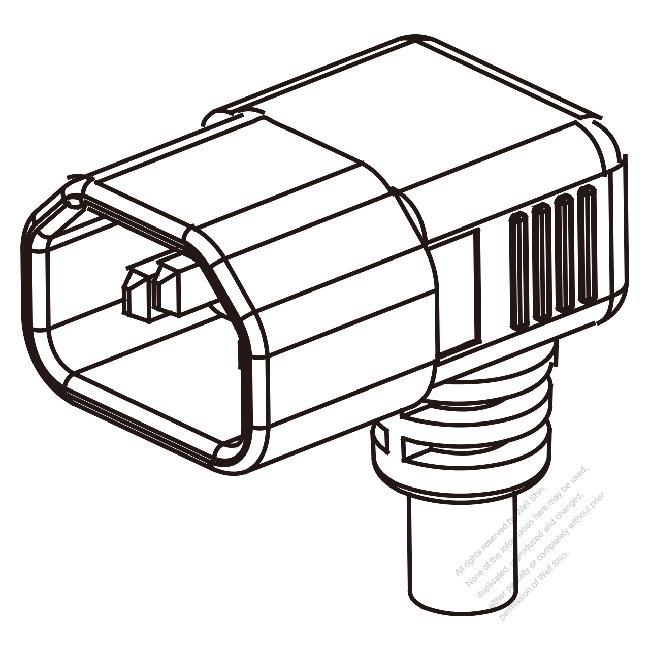 Europe IEC 320 Sheet E (C14) Plug Connectors 3-Pin Angle