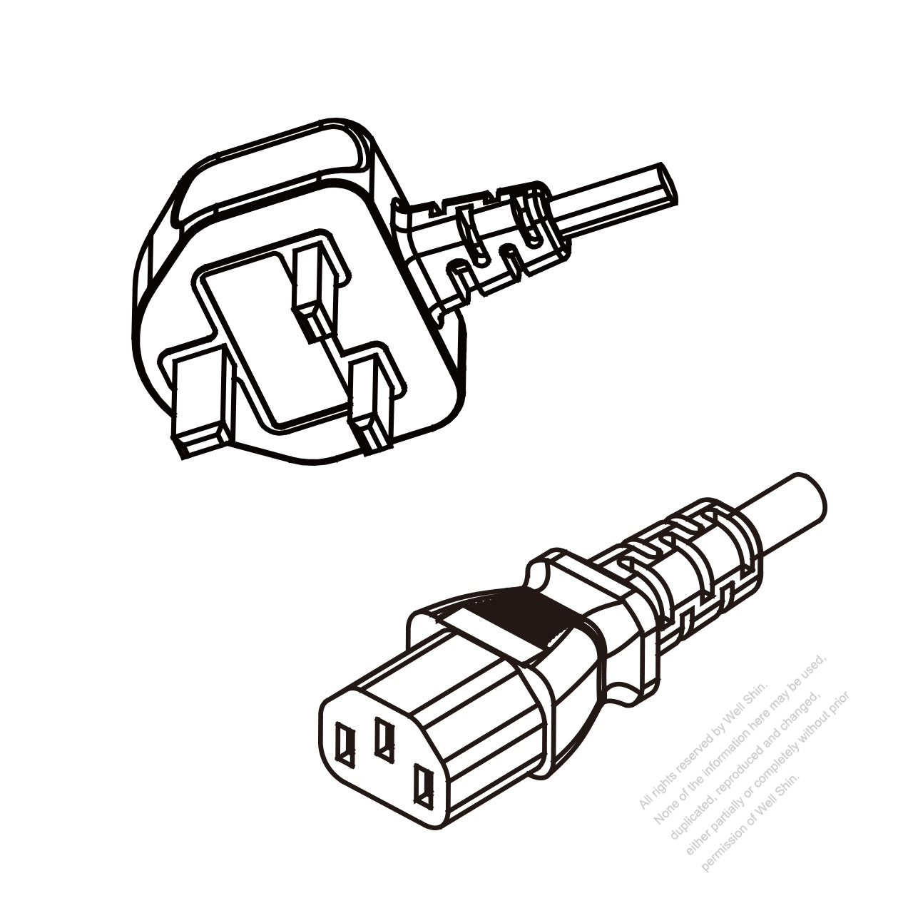 Uk 3 Pin Plug To Iec 320 C13 Ac Power Cord Set Molding