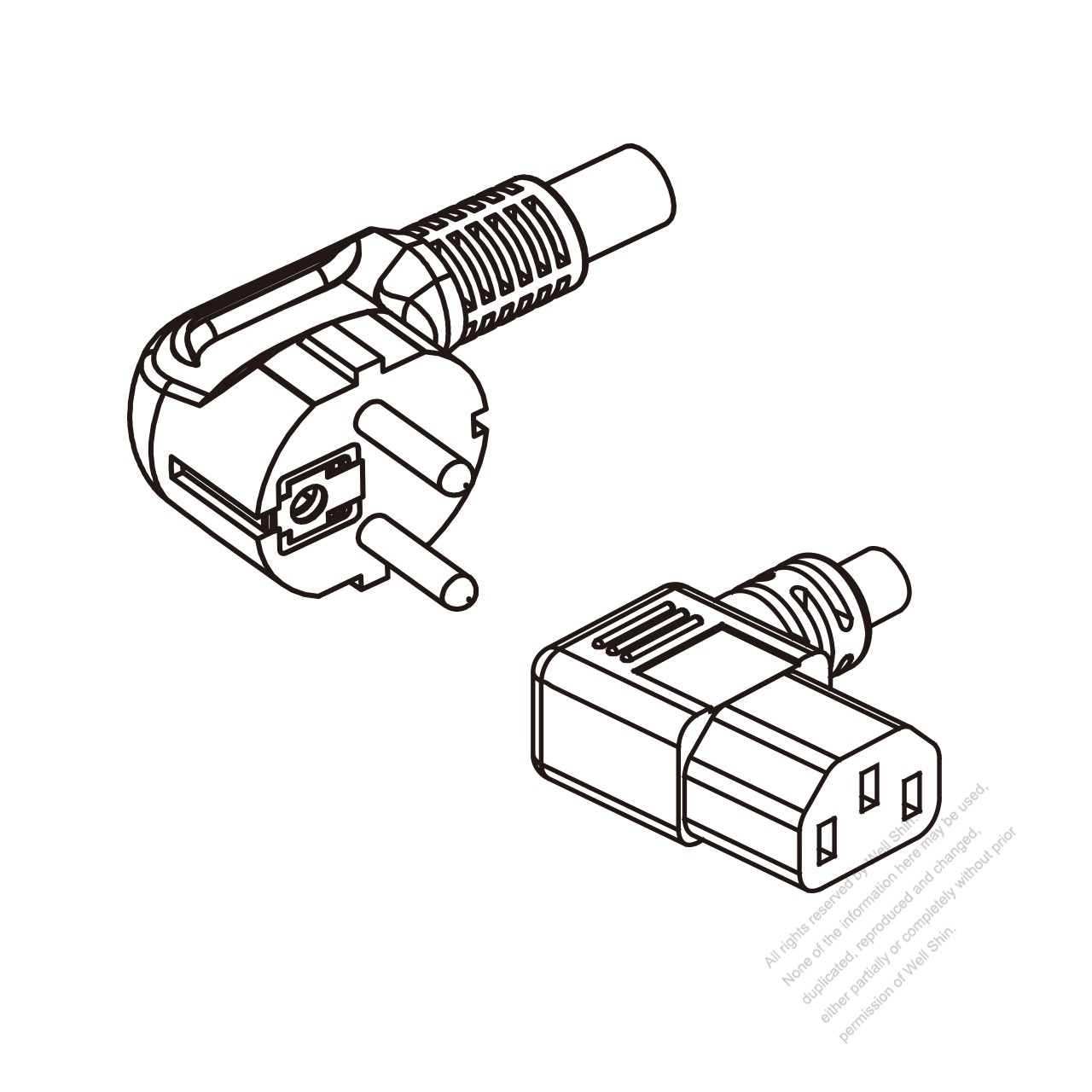 Europe 3 Pin Angle Plug To Iec 320 C13 Left Angle Ac