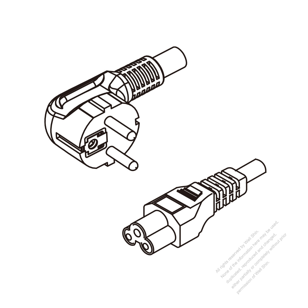 Europe 3-Pin Angle Plug To IEC 320 C5 AC Power Cord Set