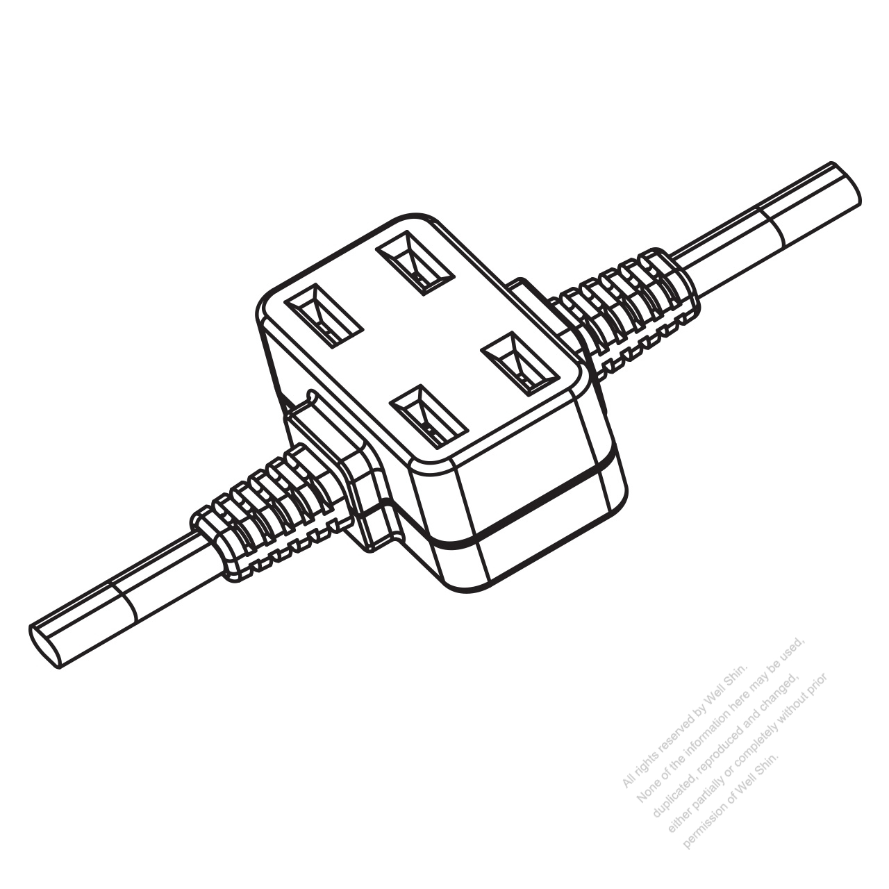 USA/Canada Multi-outlet AC Connector (NEMA 1-15R) Straight