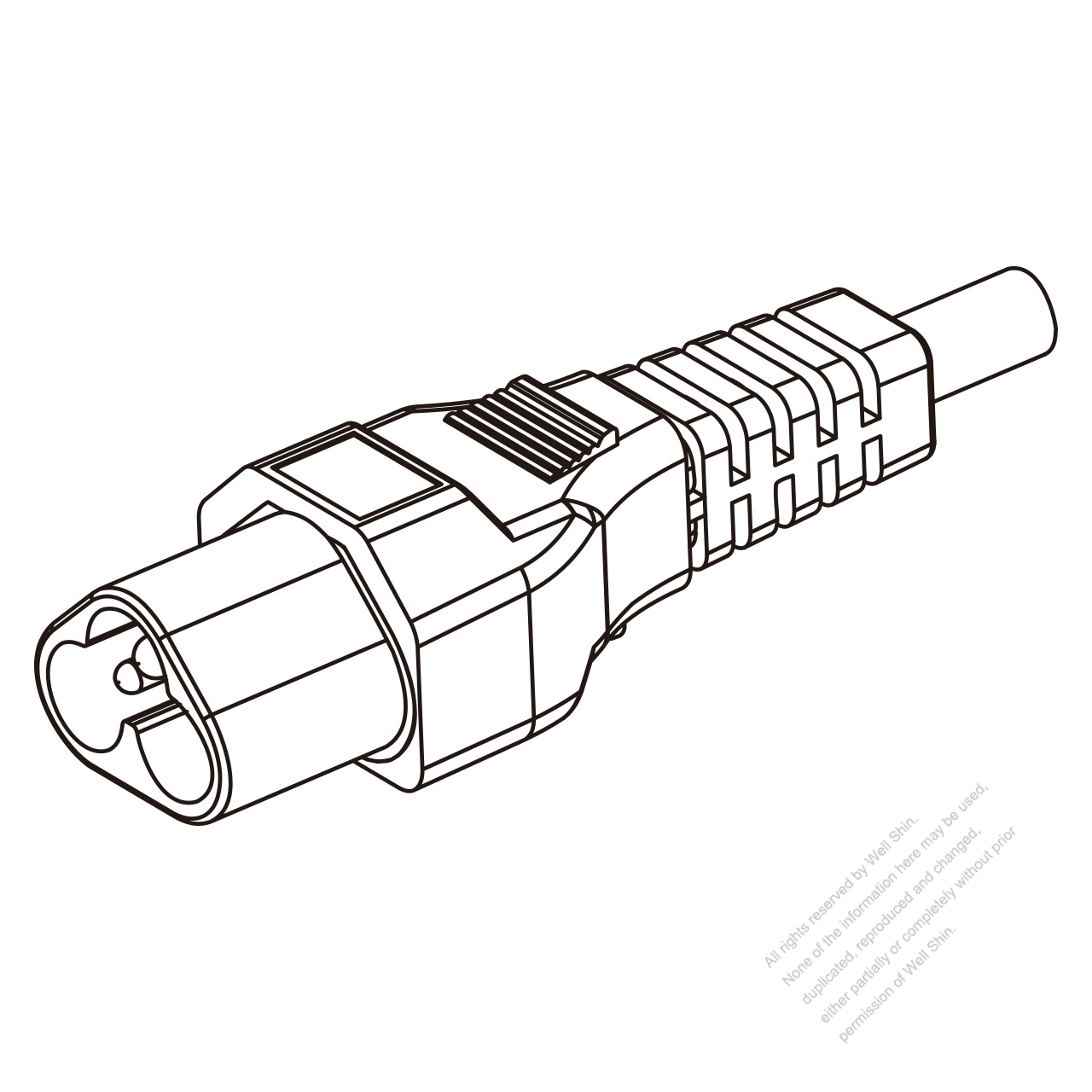 IEC 320 Sheet A (C6) Plug Connectors 3-Pin Straight 2.5A