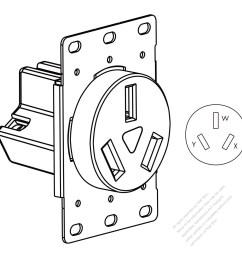 usa canada flush mount receptacle nema 10 50r 2 p 3 wire grounding [ 1280 x 1280 Pixel ]