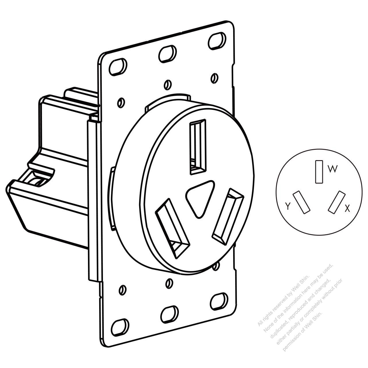 hight resolution of usa canada flush mount receptacle nema 10 50r 2 p 3 wire grounding