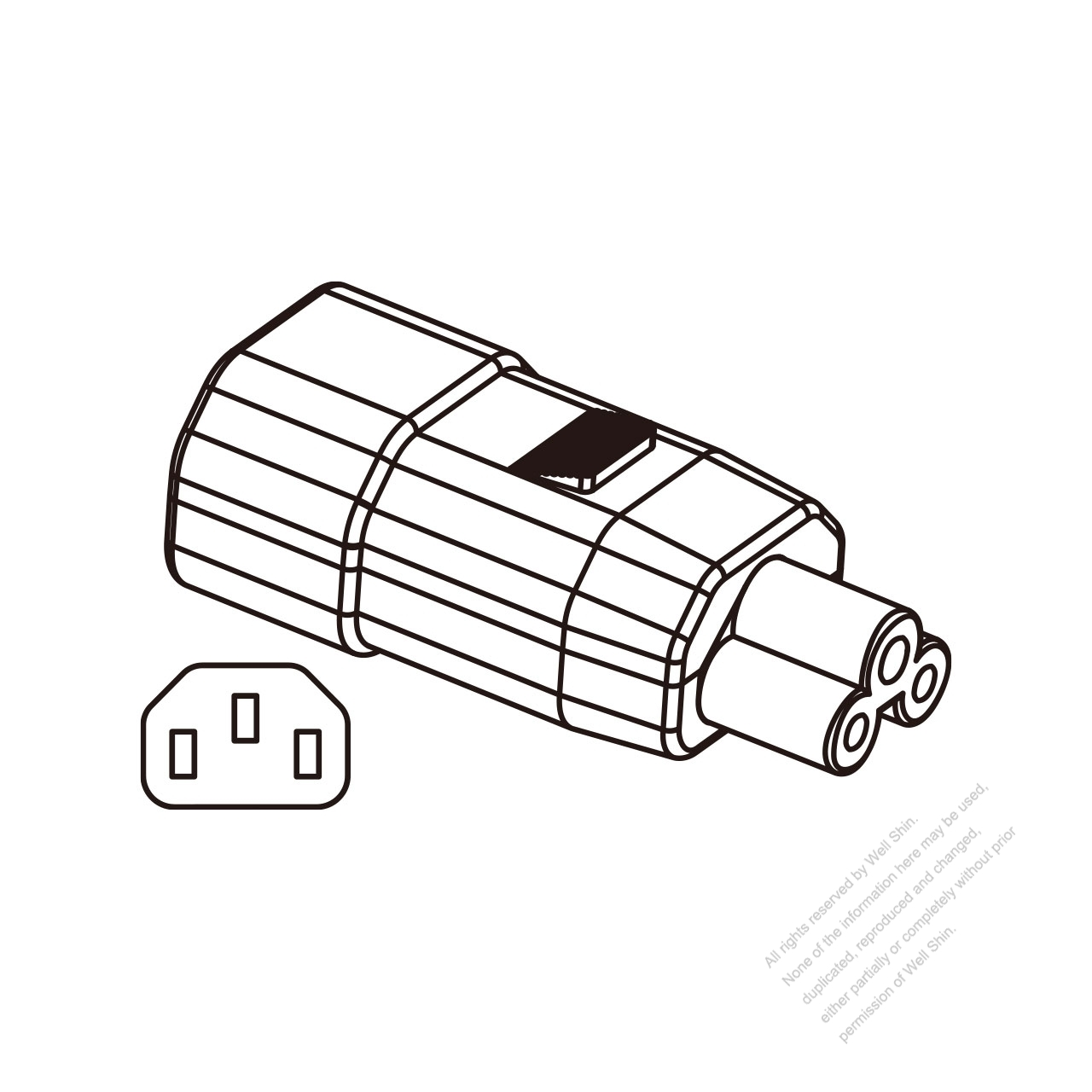 Adapter Plug, IEC 320 Sheet E Inlet to C5 Female Connector