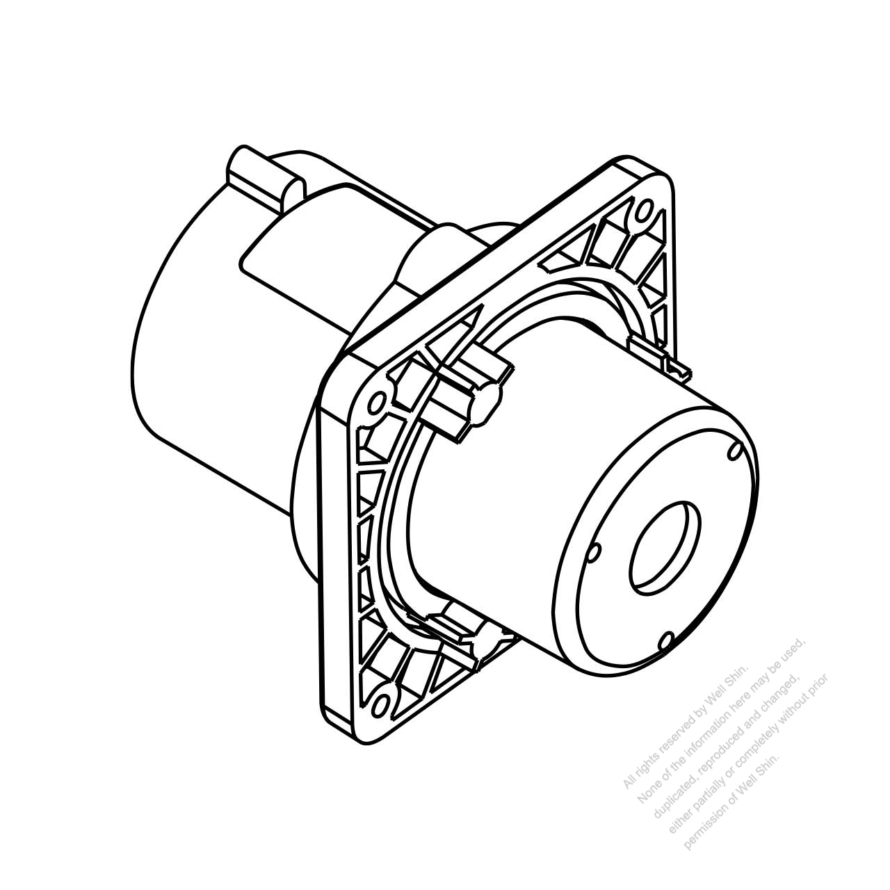 IEC 309 Interlock inlet, 2 P 3 Wire, IP 44 splash proof