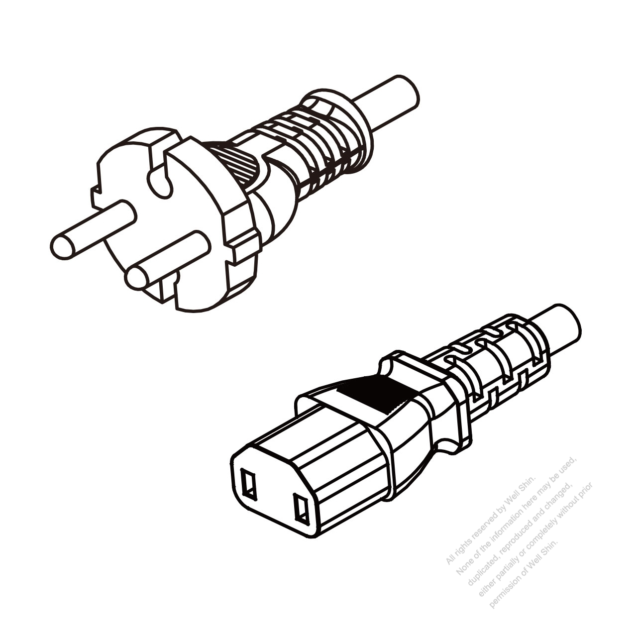 Europe 2 Pin Plug To Iec 320 C17 Ac Power Cord Set Molding