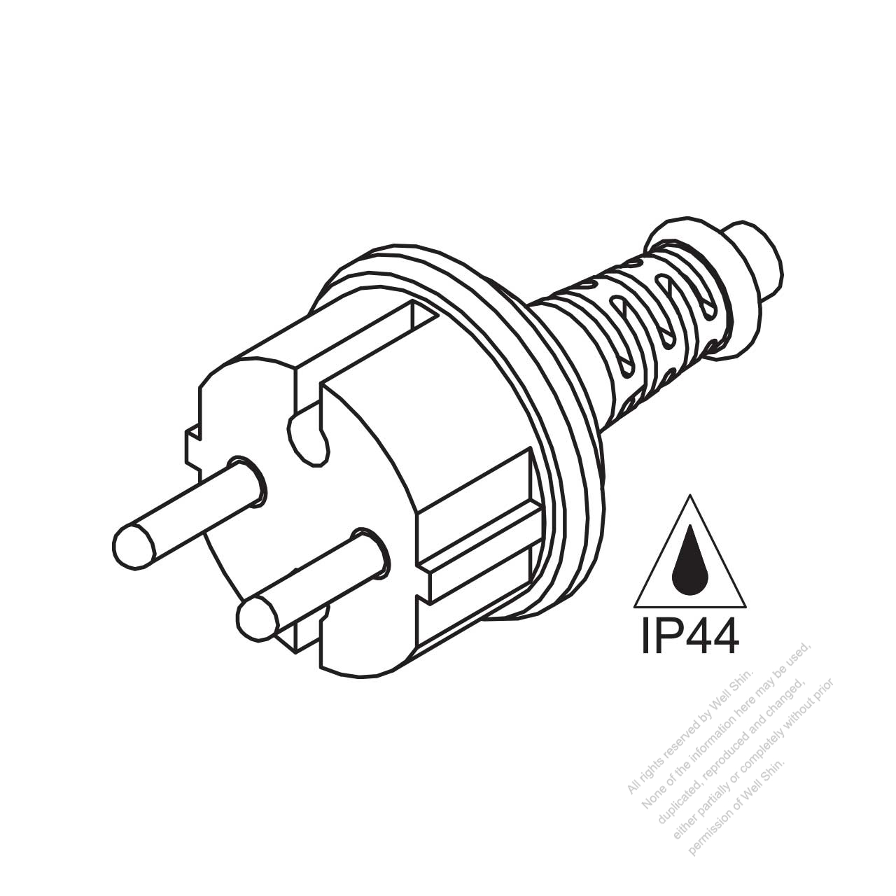 Italy 2 Pin Waterproof Ac Plug 16a 250v