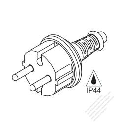 italy 2 pin waterproof ac plug 16a 250v [ 1280 x 1280 Pixel ]