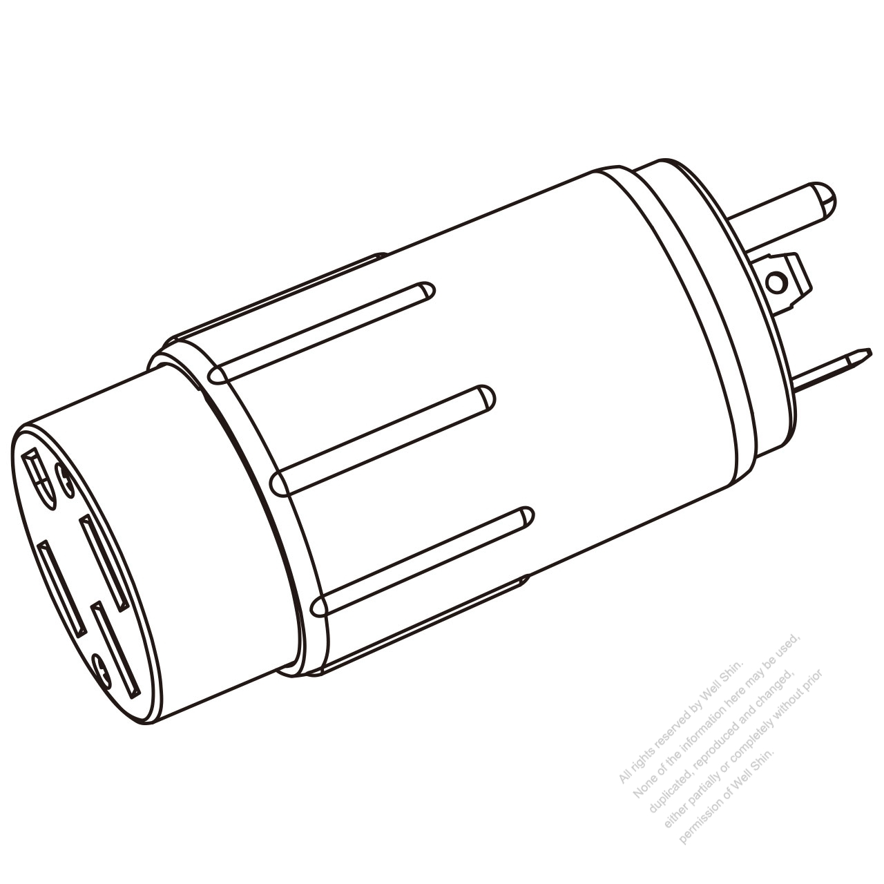 RV Adapter Plug, NEMA TT-30P to 14-50R, 3 to 4-Pin 30A