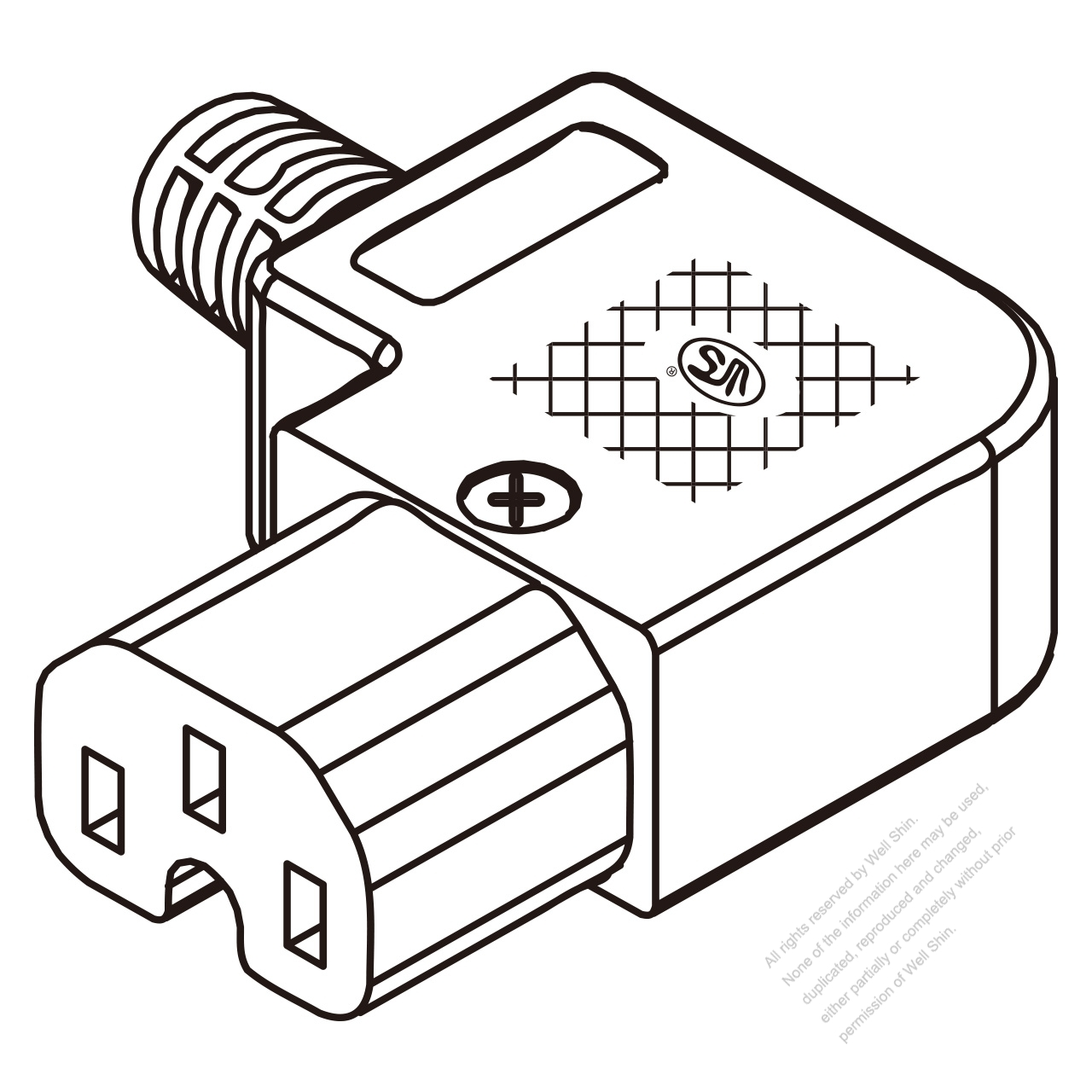 IEC 320 C15 Connector 3-Pin Right Angle 10A International
