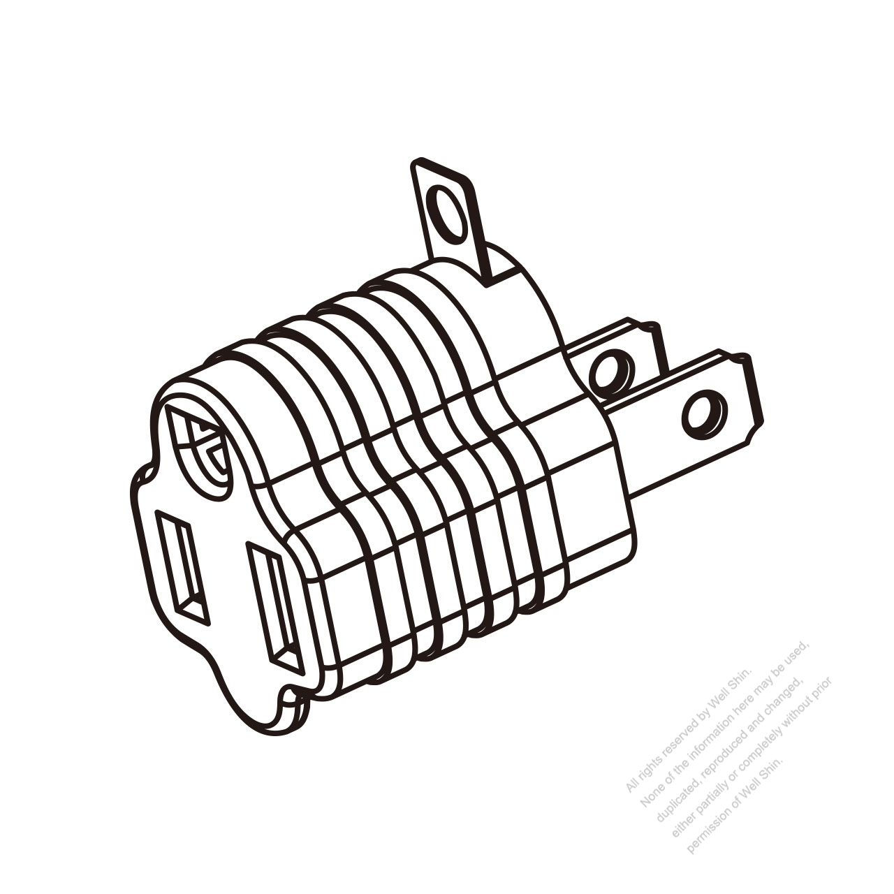 Adapter Us Nema 1 15p Plug To 5 15r Connector Metal