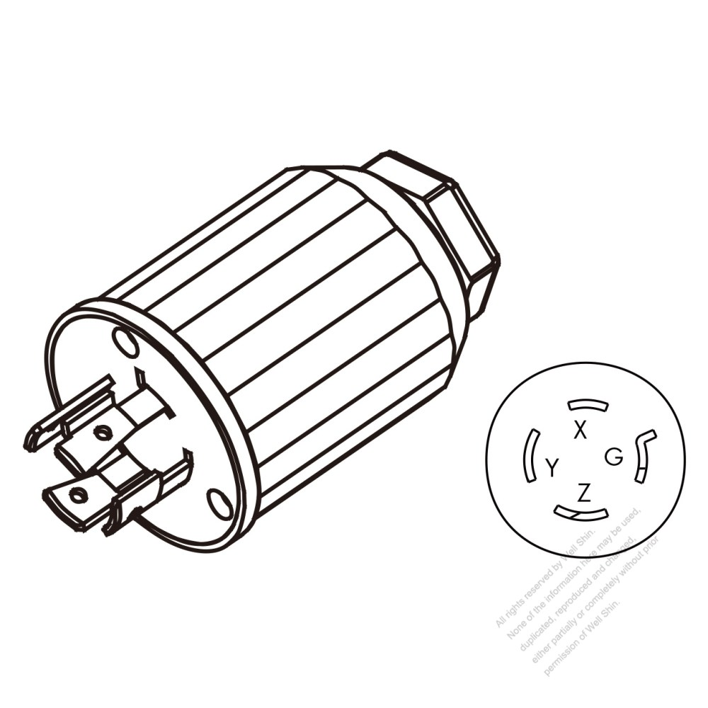 medium resolution of usa canada twist lock nema l15 20p 4 pin straight