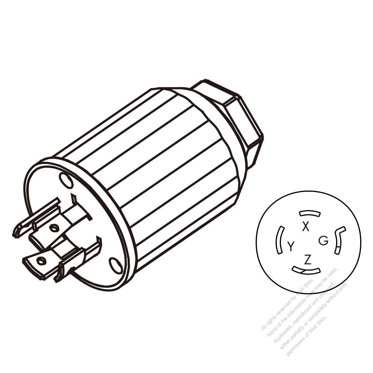 hight resolution of usa canada twist lock nema l15 20p 4 pin straight