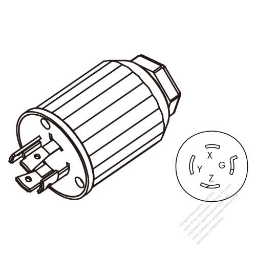 small resolution of usa canada twist lock nema l15 20p 4 pin straight