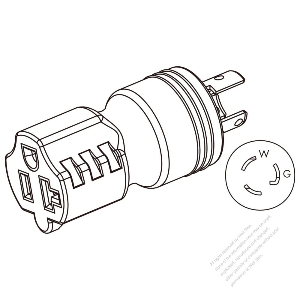 medium resolution of adapter plug nema l5 15p twist locking to nema 5 20r 2