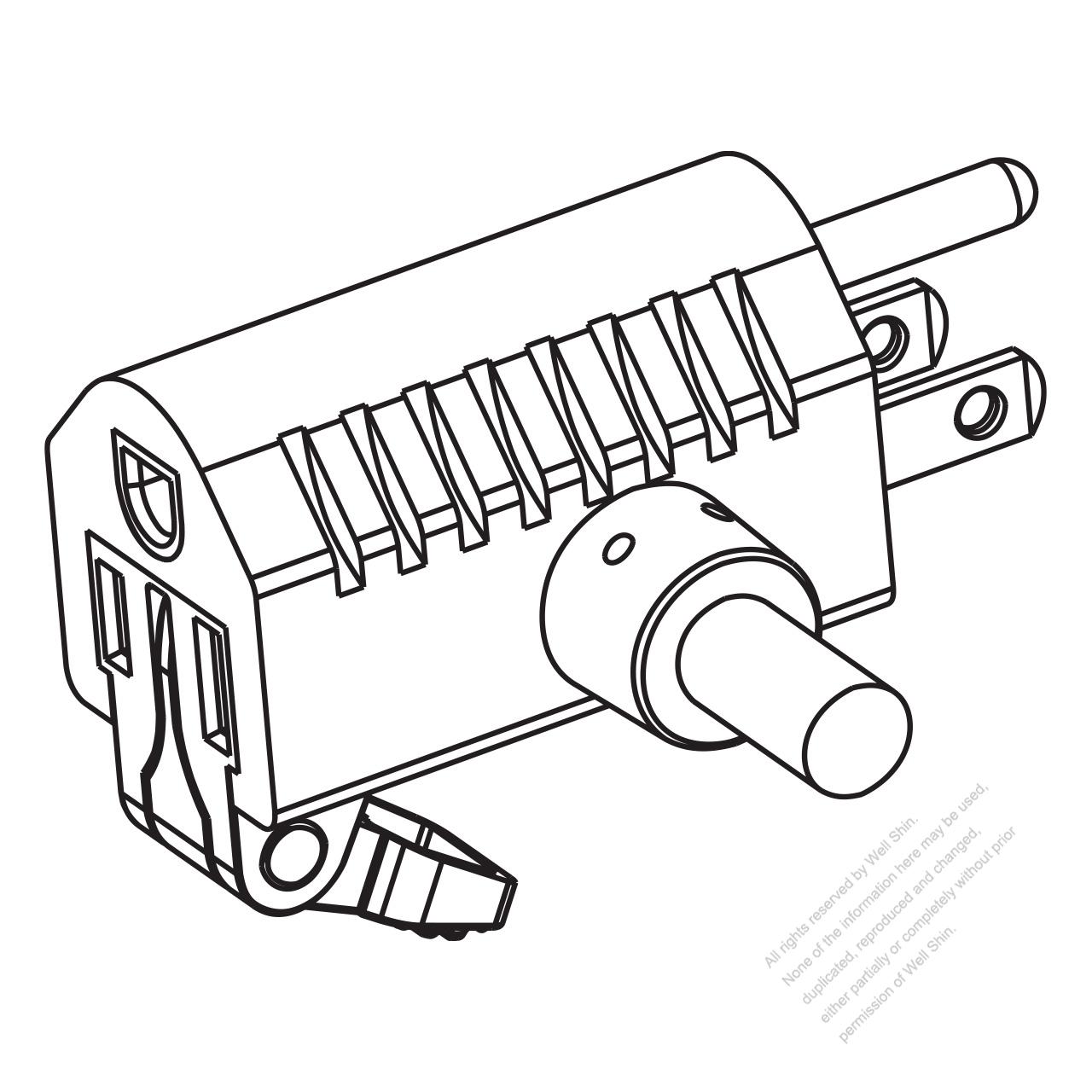 USA/Canada NEMA 5-15P/15R T Shape AC Plug, 2 P/ 3 Wire
