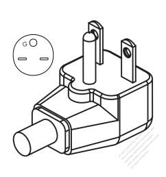 usa canada nema 6 15p elbow ac plug 2 p 3 wire [ 1280 x 1280 Pixel ]