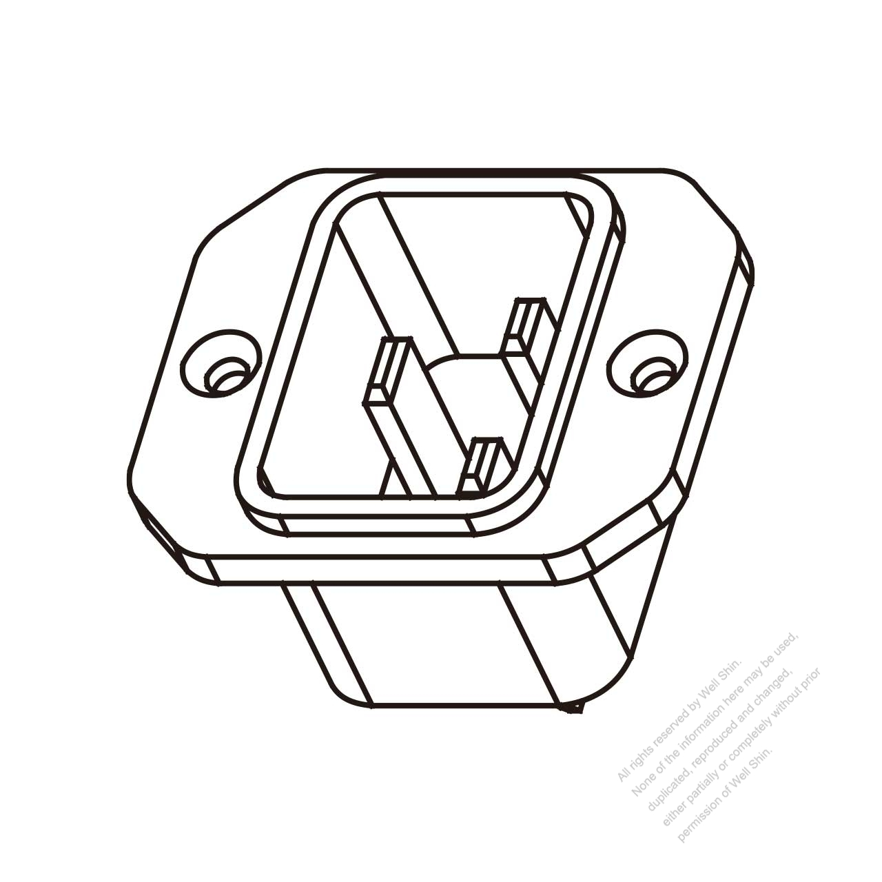 AC Socket IEC 60320-1 (C20) Appliance Inlet, Screw Type