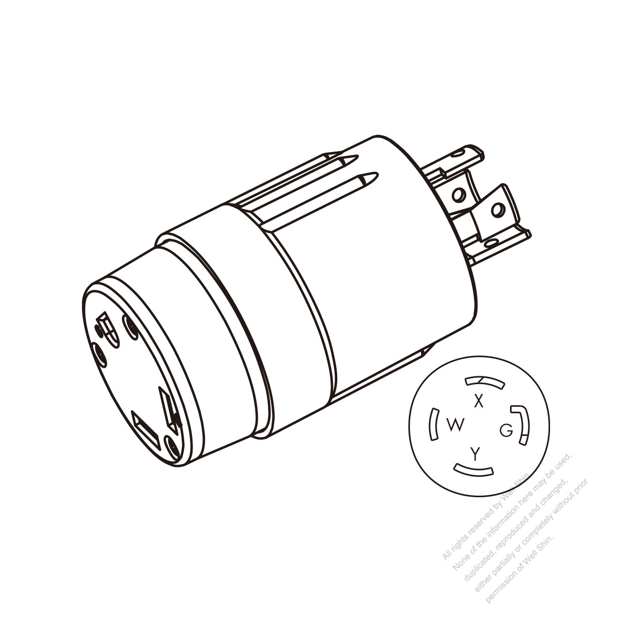 RV Adapter Plug, NEMA L14-30P to TT-30R, 2 P, 3 Wire