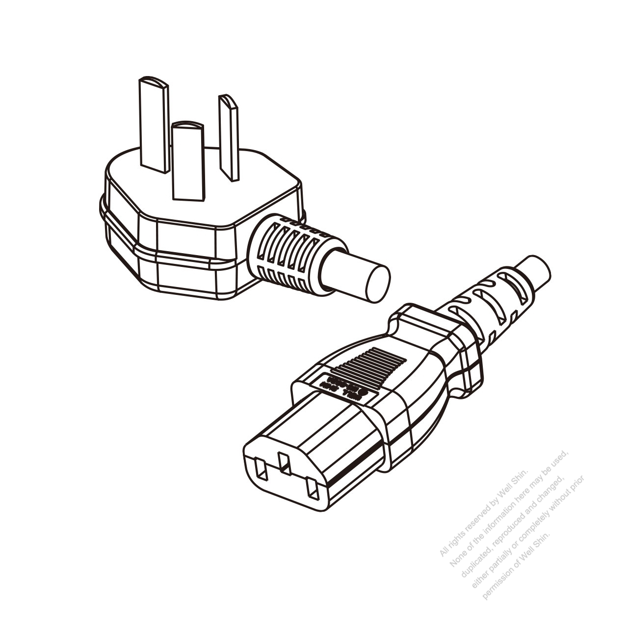 China 3 Pin Angle Type Plug To Iec 320 C13 Power Cord Set