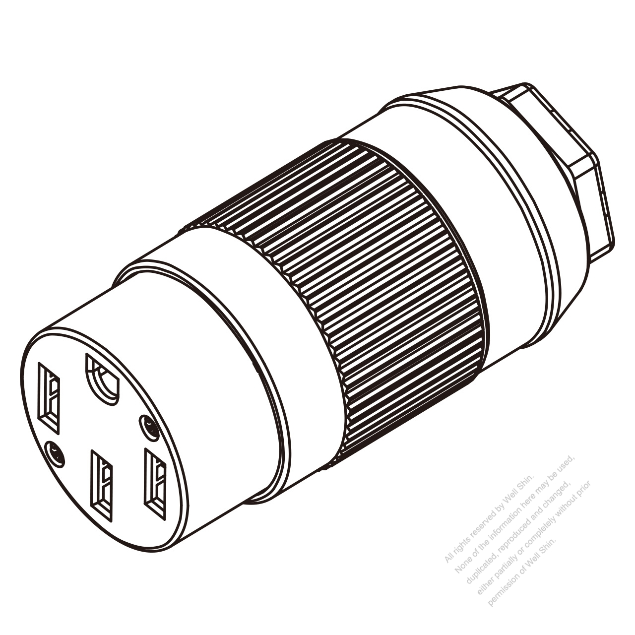 USA/Canada Connector (NEMA 14-50R) 4-Pin 3 P, 4 Wire