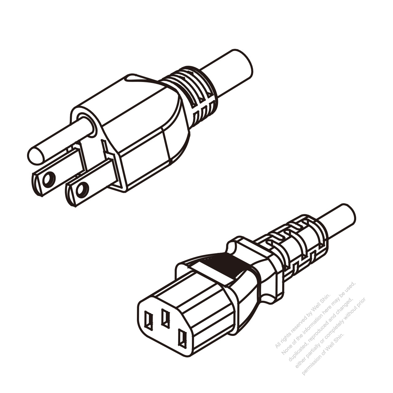 Taiwan 3-Pin Plug To IEC 320 C13 AC Power Cord Set Molding