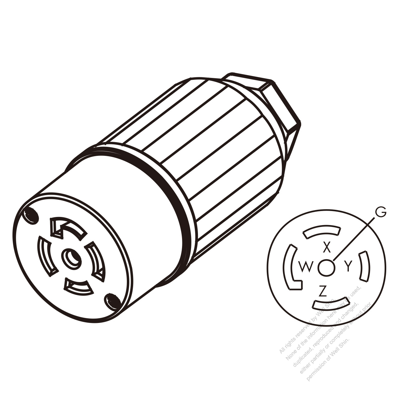 USA/Canada Twist-Lock Connector (NEMA L21-30R) 5-Pin