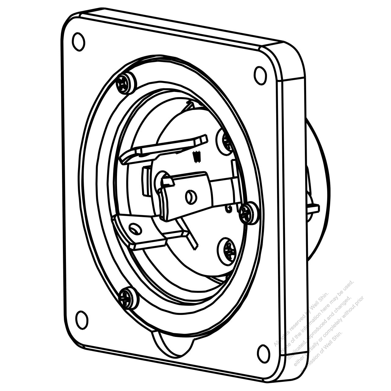 USA/Canada Locking Flanged Inlet NEMA L6-30P, 2 P 3 Wire
