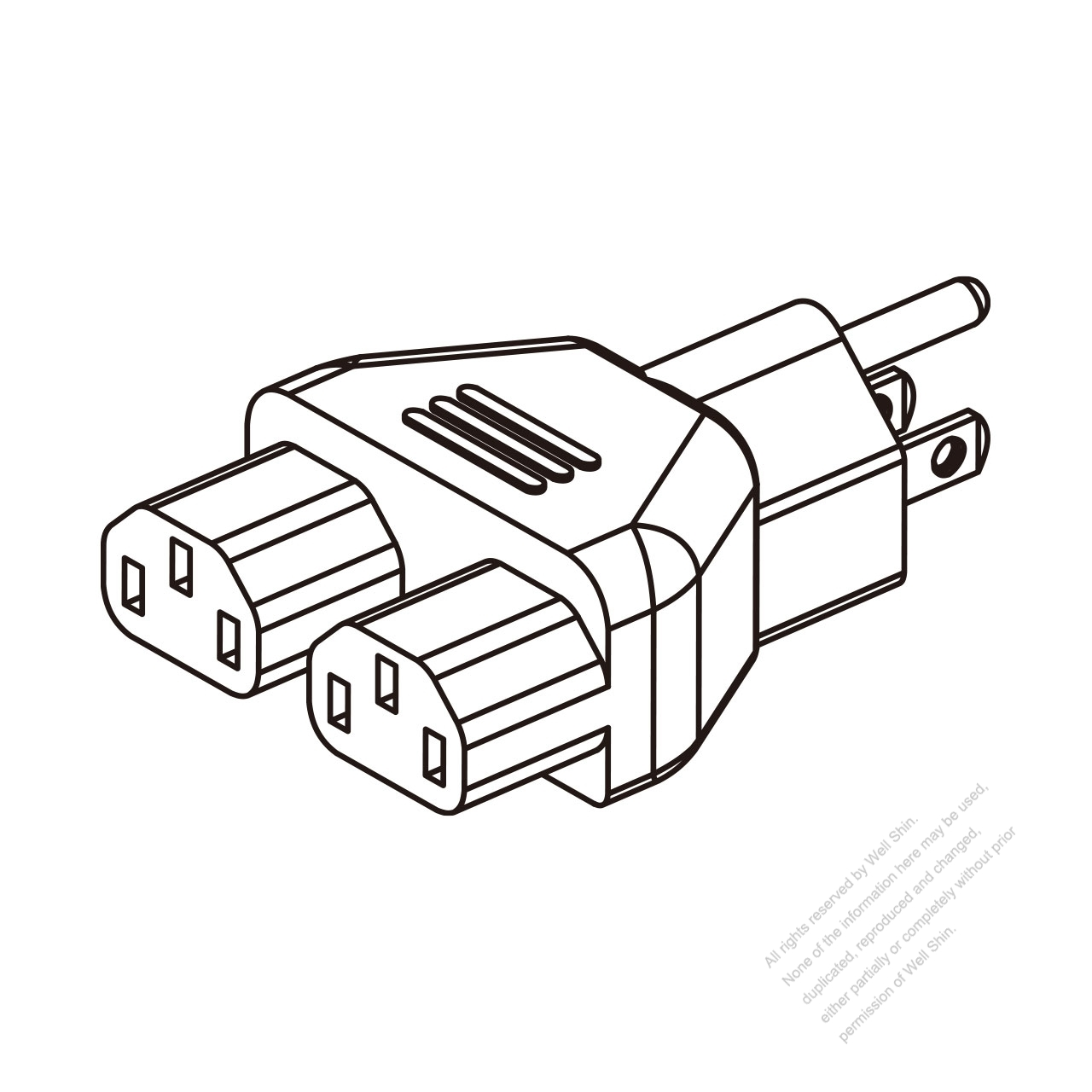 Adapter Plug, NEMA 5-15P to IEC 320 C13 x 2, 3 to 3-Pin
