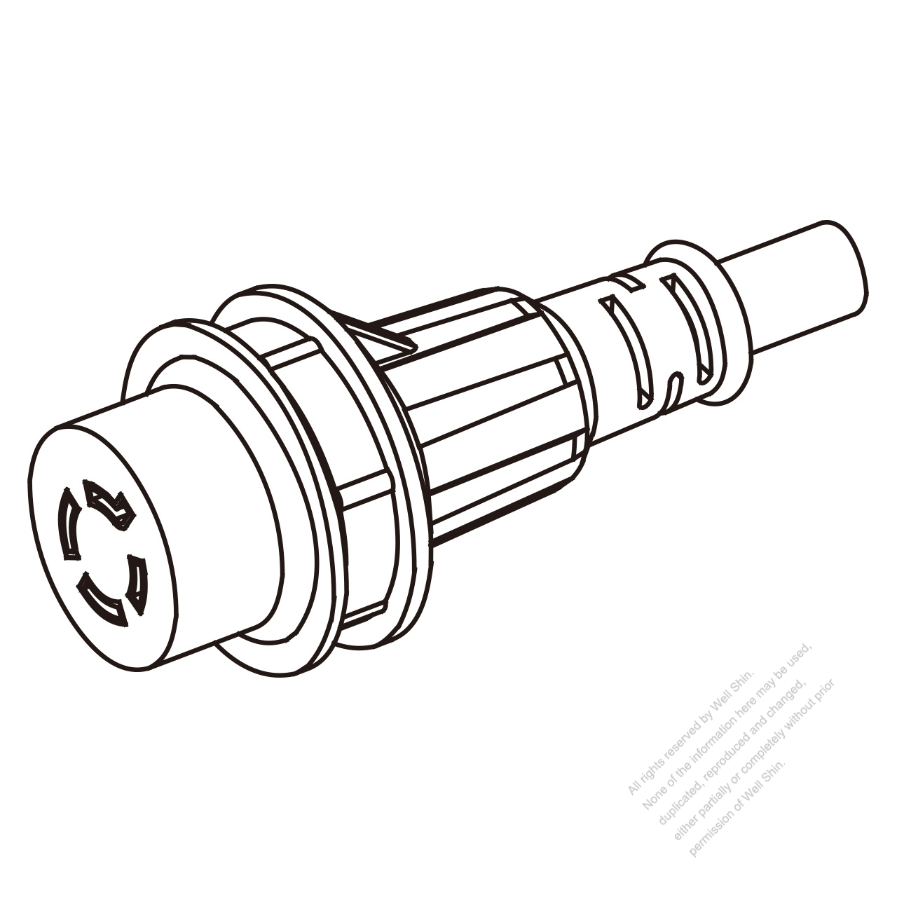 Marine Shore Twist Locking Waterproof Connector (NEMA L14