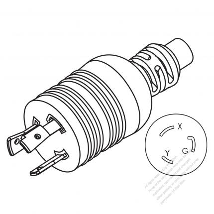 USA/Canada NEMA L6-20P Twist Locking AC Plug, 2 P/ 3 Wire