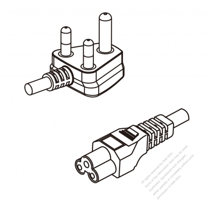 South Africa 3-Pin Angle Plug To IEC 320 C5 AC Power Cord