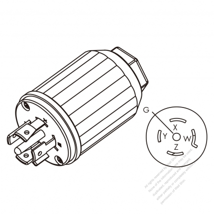 USA/Canada Twist-Lock (NEMA L21-20P) 5-Pin Straight plug