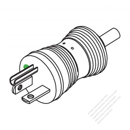 USA/Canada Hospital Grade AC Plug, NEMA 6-20P, 2 P/ 3 Wire