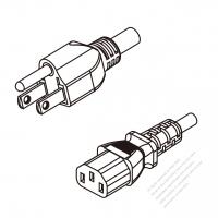 Taiwan 3-Pin Plug To IEC 320 C13 AC Power Cord Set Molding