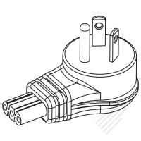 USA/Canada NEMA 5-20P Straight AC Plug, 2 P/ 3 Wire